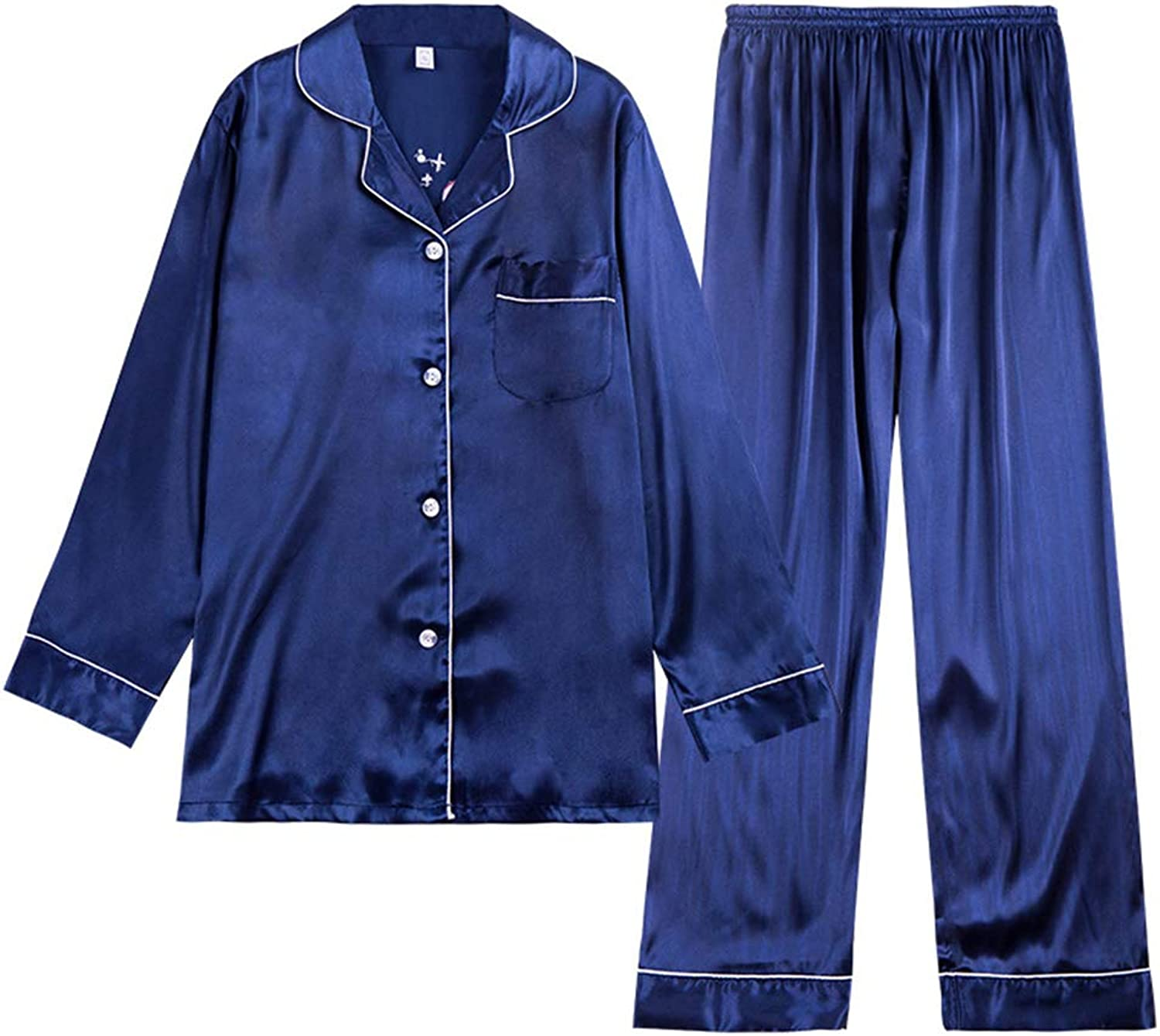 Spring Summer bluee Pink Pajamas Ms Long Sleeve Trousers Comfortable Leisure Daily Women's Clothing Home Clothes TwoPiece Set,bluee,M
