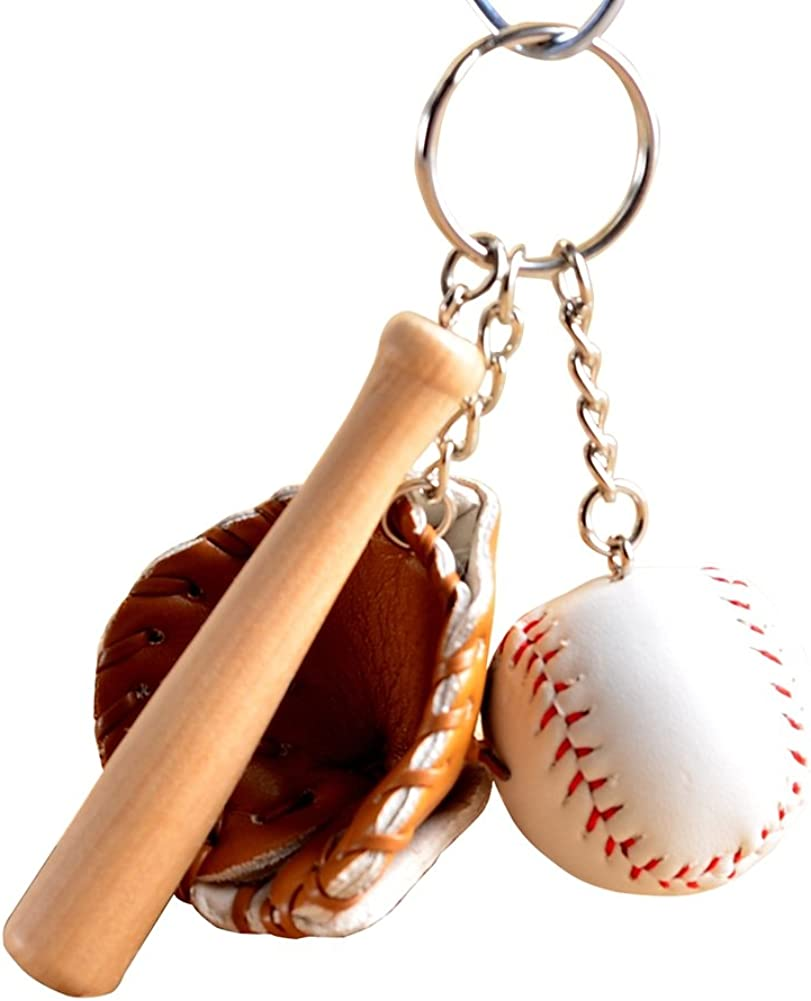 preliked Mini Baseball Glove and Bat Model Keychain Keyring Keyjob Holder Handbag Pendant