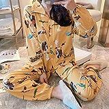 Pijama Mujer PrimaveraConjuntos De Pijama De Manga Larga para Mujer Otoño 2XL Estampado Estilo Coreano Ropa De Dormir Cárdigans Estudiantes Pijamas Elegantes para Mujer Sueltos-Una_SG