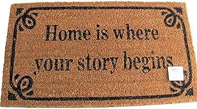 Decorative Coir Entrance Door Mat Home is Where Your Story Begins 70 cm x 40 cm