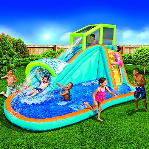 SCS Direct Inflatable Water Slide - Huge Kids Pool (14 Feet Long by 8 Feet High) with Built in Sprinkler Wave and Water Wall - Heavy Duty Outdoor Pipeline Adventure Park - Blower Included