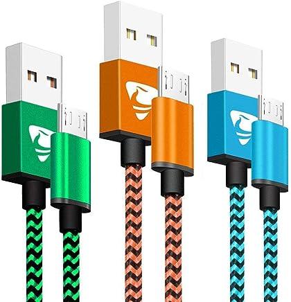 Yosou Cable Micro USB [3-Pack, 1M] Cable Cargador Movil de Nylon Cable USB Micro USB Compatible con Dispositivos Android, Samsung Galaxy S7/S6/S5, Huawei, Sony, Nexus, HTC - Azul, Naranja, Verde