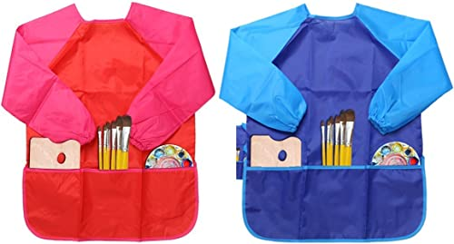 LEADSTAR 2 Pièces Longue Manches Tablier de Peinture,Imperméable Blouse de Peinture pour Enfant (Bleu & Rouge)