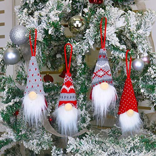 HLOMVE Christmas Gnome Ornaments, Nordic Swedish Tomte Xmas Gnomes Plush Doll Handmade, Santa Elf Christmas Tree Hanging Decoration, Set of 4