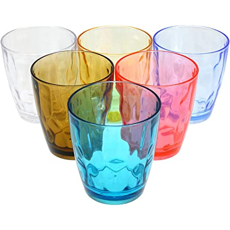 Eggfoil Plastic Tumblers 6 Oz Square Unbreakable Drinking Glasses For Kids Water Tumblers 6 Pack Assorted Colors Kitchen Dining