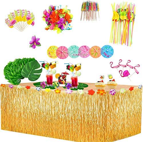 145 Piezas Hawaiano Luau Falda de Mesa Set de Decoración, Decoración de Fiesta Tropical de 9.6FT con Flamenco Piña Hojas de Palma Flores Hawaianas Decoraciones de Mesa de fiesta de verano