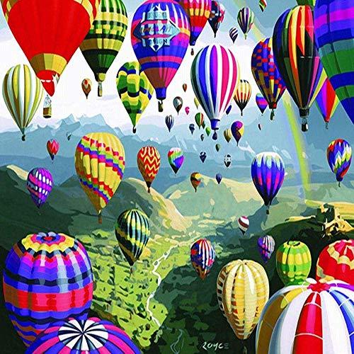 Peinture de Ballon à air Chaud coloré par Chiffres pour Adultes Bricolage Peinture à l'huile 16 x 20 Pouces sans Cadre ZDWN