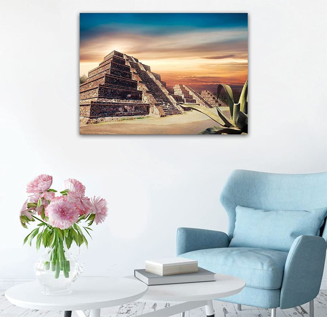 Amazing Decor Wall half Murals Art Pyramid with Dramatic Sunset S at online shop