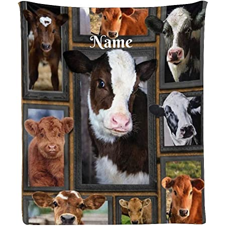 Shabby Country Cows Fickleberry Cows Tan Floral Sherpa Fleece Blanket Cow Blanket