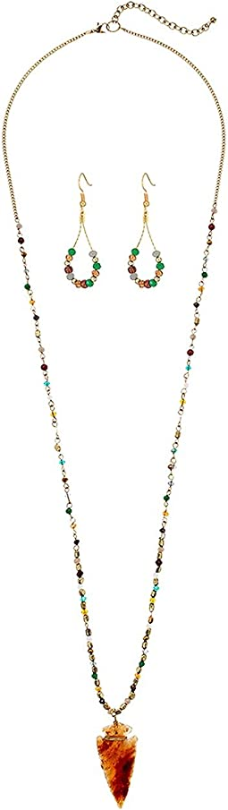 M&F Western - Arrow and Beads Necklace/Earrings Set