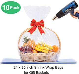 LazyMe Basket Cellophane Shrink Bags, 24x30 inch,Shrink Wrap Bags Large, Clear (10 Pcs)