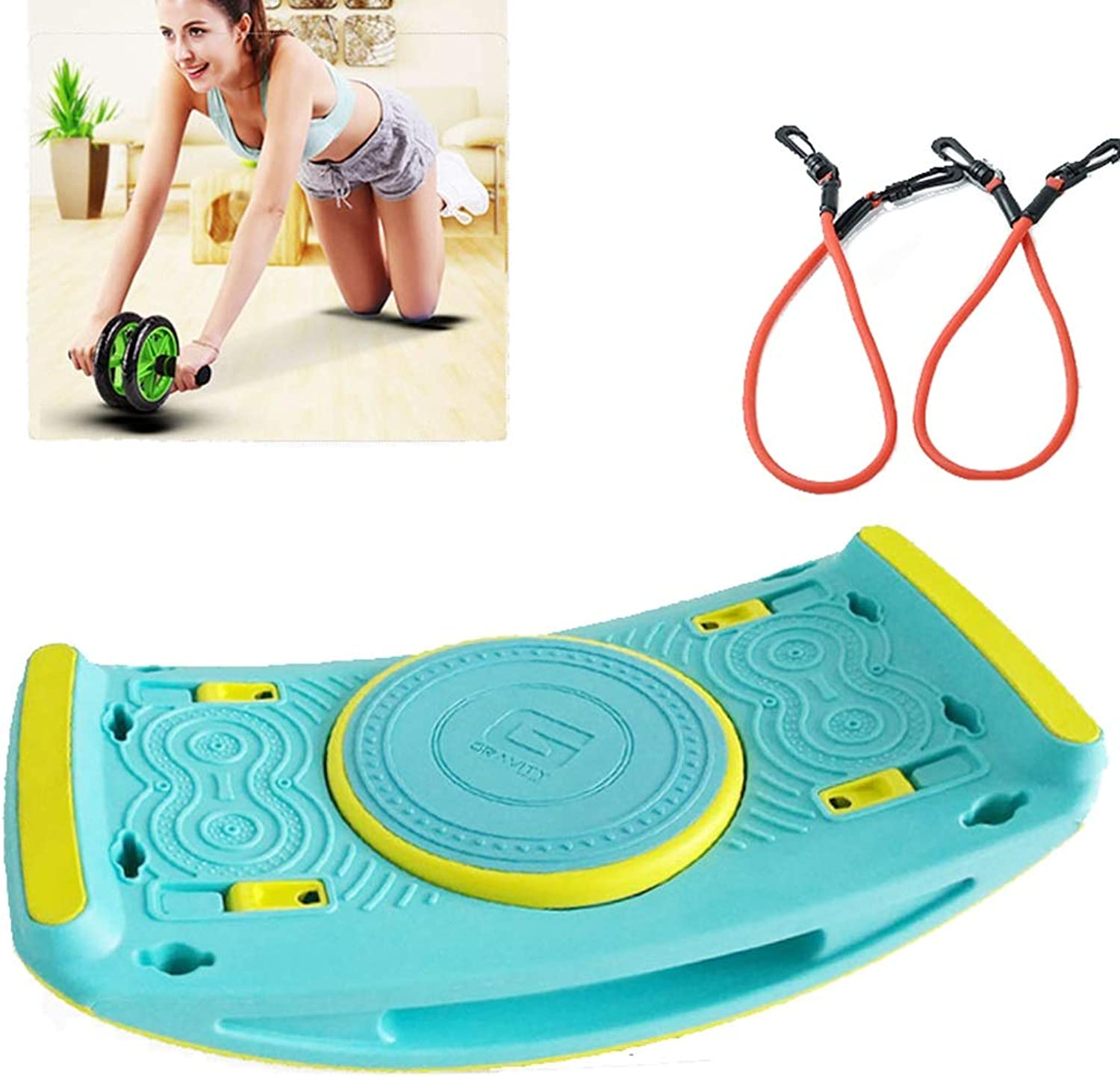 MultiFunction Stepper Fitness Home Small insitu Mountaineering Mini Stepping (color   blueee+Skipping Rope+Belly Wheel)