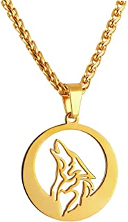 Wolf Necklace with Adjustable Spiga Chain Stainless Steel Round Hollow Pendant