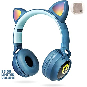 PowerLocus Buddy Wireless Bluetooth Headphones for Kids, Kid Headphone Over-Ear with LED Lights, with 10H Playtime, Wireless and Wired Headphone for Cell Phones,Tablets,PC,Laptop (Blue)