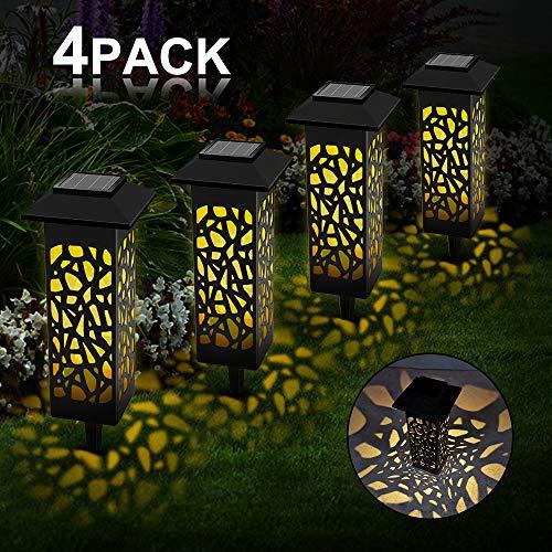 Vegena 4 Stück Solarleuchte Garten, LED Solarleuchten für Den Garten IP55 Wasserdicht für Außen Decorative Solarlamp Terrasse Hinterhöfe Fahrstraßen Wege Patio Rasen Warmweiß (Warmweiß)