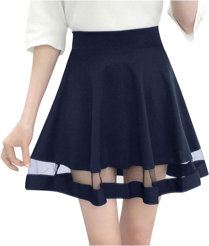 Women's Lace Basic Versatile Stretchy a-Line Flared Casual Mini Skater Skirt High Waist Pleated Skirt