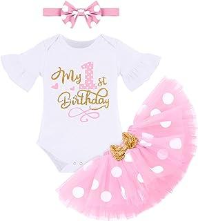FYMNSI Baby Mädchen Mein 1. Geburtstag Outfit Gepunktet Tütü Rock  Baumwolle Kurzarm Body  Ohr Stirnband 3tlg Bekleidungsset Fotoshooting Kostüm
