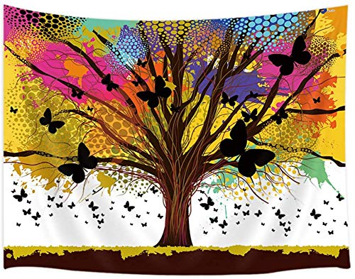 YeeATZ Colorful Tree Tapestry Wall Hanging Psychedelic Life Tree with Butterfly Trippy Wall Tapestry Bohemian Mandala Hippie Tapestry for Bedroom Living Room College Dorm 60 x 40 Inches