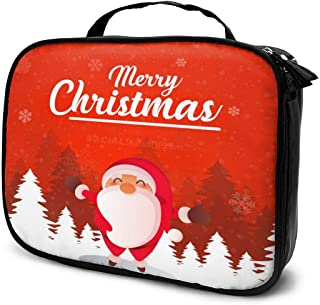 Cosmetic Bag Christmas Santa Makeup Bag Lightweight Portable Cosmetic Case Water Resisted Cosmetic Makeup Bag Durable Organizer Makeup Boxes With Insulated Pockets For Travel