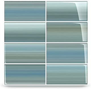 Bodesi Wintermoss Glass Subway Tile for Kitchen Backsplash or Bathroom, Color Sample