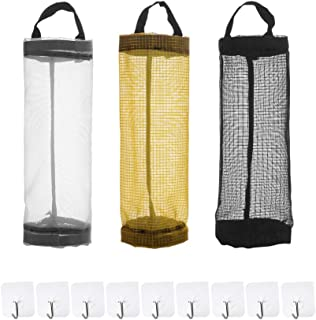Angla 3 Pack Plastic Bag Holder Dispensers Mesh Hanging Shopping Plastic Grocery Bag Holder Organizer Dispenser for Kitchen Garbage Trash Containers Storage Recycling Grocery Pocket Containers
