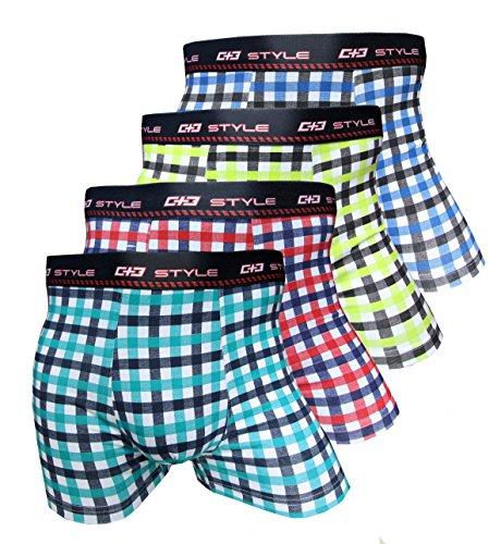 Unbekannt Herren Baumwoll Boxershorts 4er Pack, Größe Large (L), Farbe je 1x blau, gelb, rot, türkis-blau