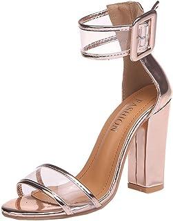 95815909909 Chaussures à Talons Femme Sandales Boucle à Hauts Femmes de Plage Sandales  été Bout Rond Talon