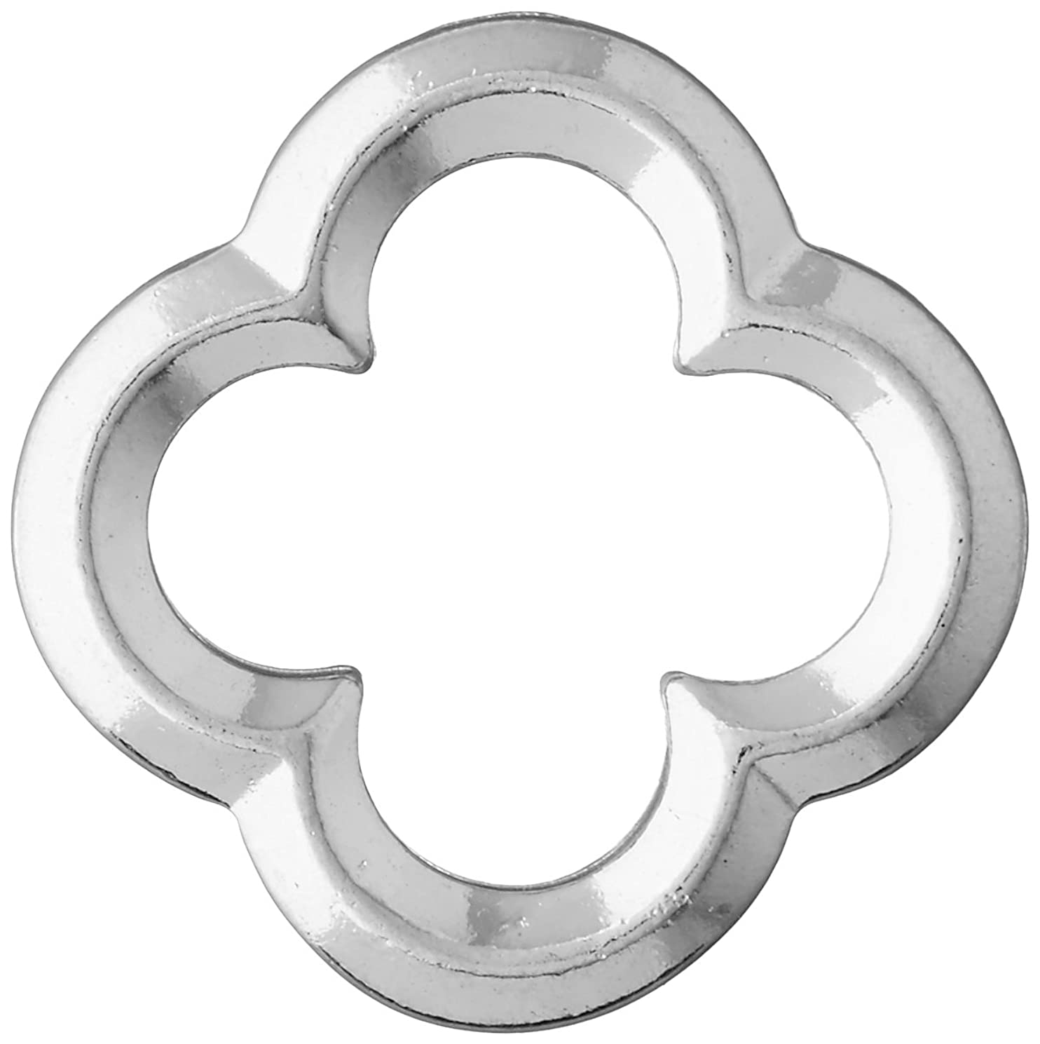 TierraCast Quatrefoil Ring Charm, 21.6mm, Bright Rhodium Plated Pewter, 4-Pack