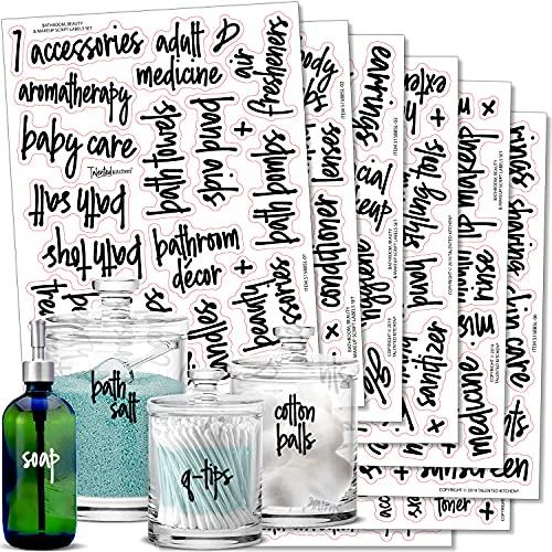 Black Script Bathroom Labels Talented Kitchen Script Bathroom Organization Labels – 123 Black Bath, Beauty & Makeup Preprinted Stickers. Water Resistant Decals (Set of 123 – Black Script Bathroom)