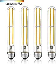 NOVELUX T10 LED Bulbs, Soft White 2700K, Tubular Light Bulb, Dimmable Edison LED Bulb 6W (60W Equivalent) 600lm, E26 Medium Base Led Bulb UL Listed 4Pack