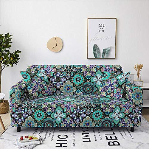 Funda Sofa 1 Plaza Jacquard Azul Fundas Sofá,Universal Funda Cubre Sofas Ajustables, Antideslizante Protector Cubierta de Muebles(90-140cm)