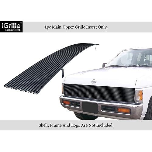 APS Fits 86-97 Nissan Pickup Phantom Black Stainless Steel Billet Grille Insert #N85230J