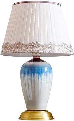 Lampada da tavolo Desk lampade in Ceramica Camera da Letto Comodino Camera di Studio Soggiorno Rame Base Occhi Protezione (Size : 30 * 53CM)