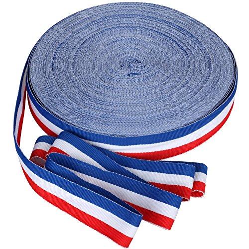TRIXES Bobine de Ruban en Nylon Décoratif Tricolore Français de 45 m x 25 mm Bleu Blanc Rouge pour Fête Nationale Française Artisanat Bannières Patriotiques Célébrations Nationales