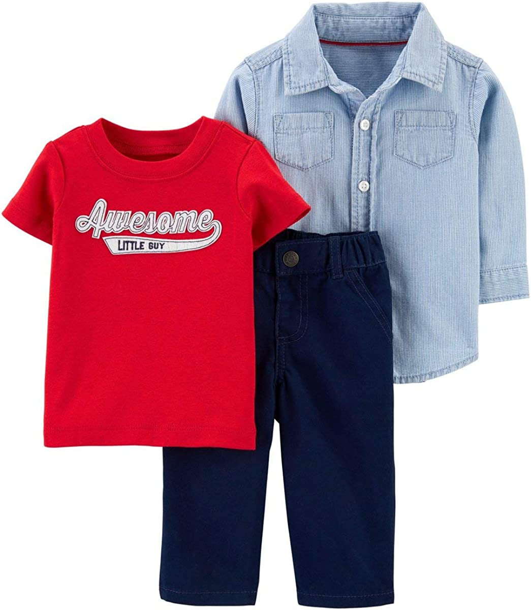 Carter's Baby Boys' 3-Pc Awesome Little Guy Pant Set, Blue, 12m