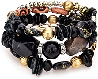 SX Commerce Multi Layer Resin Beads Bracelet Charm Elegant Bangles Women Fashion Jewelry Strand;Colored Stones Multicolore...