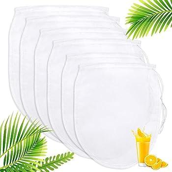 Nussmilchbeutel, Passiertuch Filterbeutel 6er Pack Käsetuch, Nut Milk Bags, Für die Produktion Mandelmilch, Hafermilch, Selleriesaft Saft, Verschiedene Getränke, Nylonmaterial Saft Filterbeutel