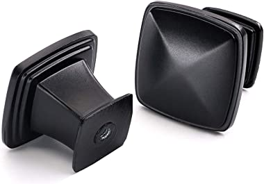 "Single Hole Solid Square Cabinet Knobs-Goldenwarm Flat Black Kitchen Furniture Hardware Drawer Door Pulls -1-1/5"" Inch 10"