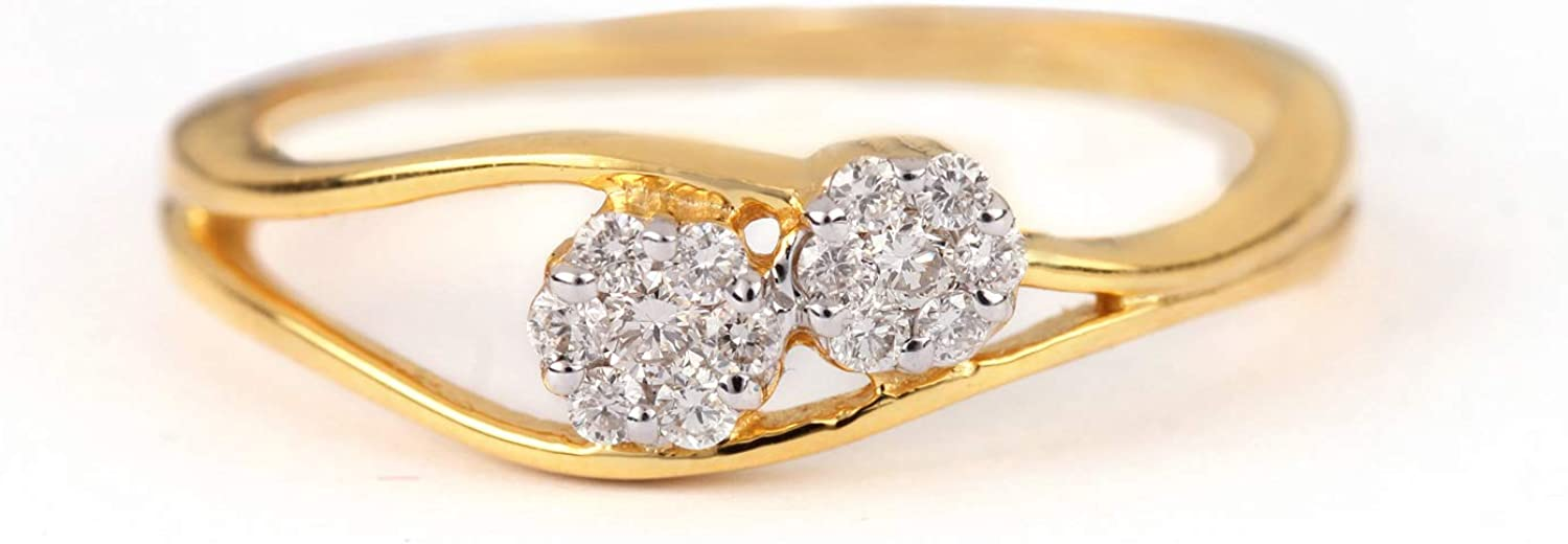 ASHNE JEWELS IGI Certified, 0.15ct Natural Diamond Ring Designer Fine Jewelry Made in 14K Solid Yellow Gold For Women and Girls