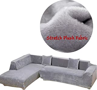 Taiyucover Warm Plush L-Shaped Sofa Covers;Stretch L Shape Sectional Sofa Furniture Protector;Anti-wrinkle Armchair Loveseat 1 2 3 4 Seater Sofa Slipcovers (Silver Grey, XL-L Shaped)