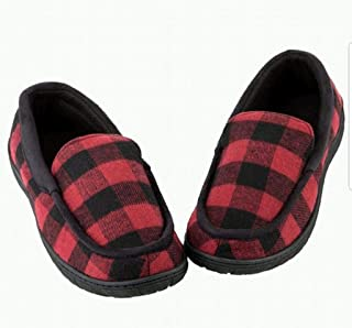 Toasties Men's Memory Foam Slippers with Soft Warm Lining Red Buffalo Checker