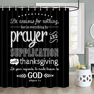 Inspirational Quote Shower Curtain, Vintage Christian Bible Verse Scripture Quotes Bathroom Shower Curtain Sets, Fabric Sh...
