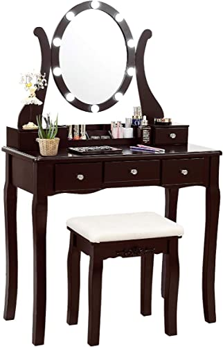 lowest CHARMAID Vanity Table Set with Lighted Mirror, Makeup Dressing outlet online sale Table with 10 LED Lights, Touch Switch, 5 outlet sale Drawers, Removable Organizer, 10 Dimmable Lights Makeup Table and Cushioned Stool Set (Coffee) outlet online sale