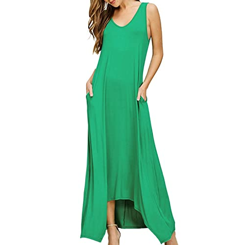 7aa50f1f39 Women`s Maxi Dress Long Sleeveless Ball Gown Solid Pocket Party Long Dresses