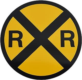 TG,LLC Yellow Metal Caution Railroad Crossing Road Street Sign Warning Train RR XING