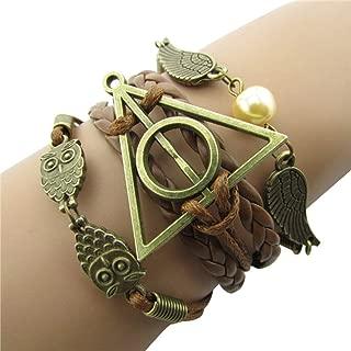 4MEMORYS Vintage Owl Wings Charm Bracelet Handmade Leather Rope Bracelet for Harry Potter Fans (Brown)