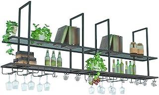 L.HPT Casier à vin, étagère Murale Suspendue en Verre à vin Vintage en métal fixé au Mur Restaurant Café Rangement de Cuis...