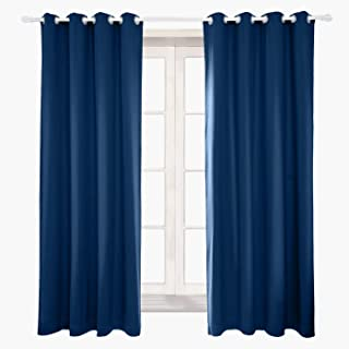 AQJD Full Blackout Velvet Curtain Coating Back Hand Soft Gromment Top Sound Reducing Heavy Weight 1 Panel in One Set (Navy Blue, 50 inch 84 inch)