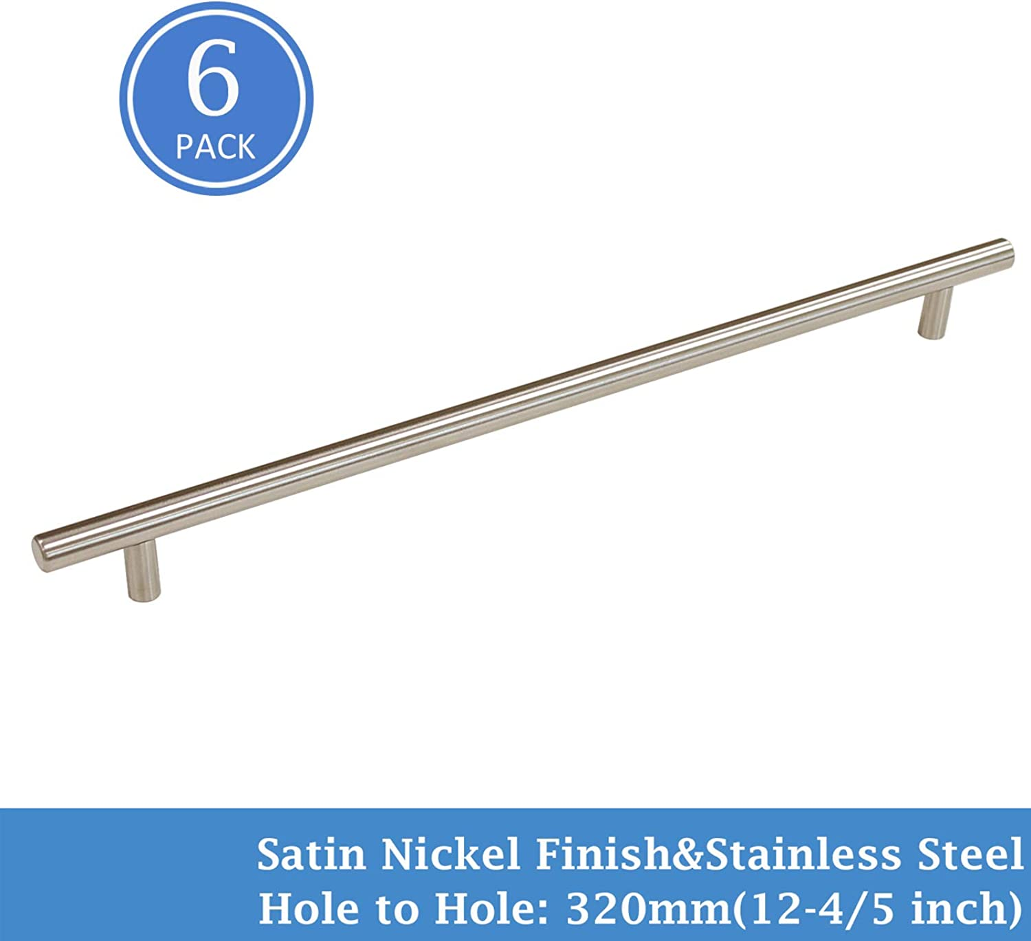 Knobonly 6 Pack 12-4 5  320mm Hole Centers Stainless Steel Kitchen Cabinet Closet Door Handles Brushed Nickel Finish