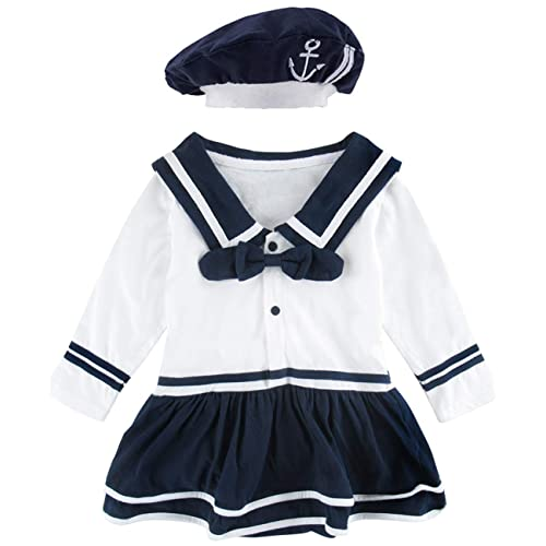 900c721396767 COSLAND Baby Girls' Sailor Dress Bodysuit Outfit with Hat